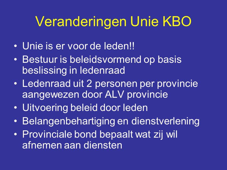Veranderingen Unie KBO Unie is er voor de leden!! Bestuur is beleidsvormend op basis beslissing in ledenraad Ledenraad uit 2 personen per provincie aa