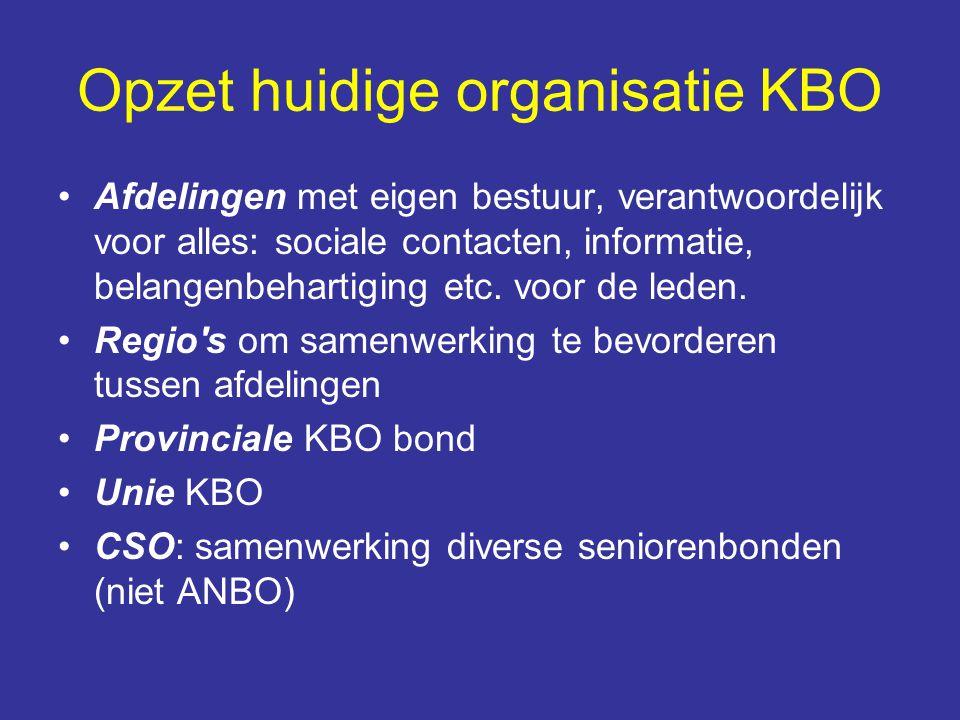 Opzet huidige organisatie KBO Afdelingen met eigen bestuur, verantwoordelijk voor alles: sociale contacten, informatie, belangenbehartiging etc. voor