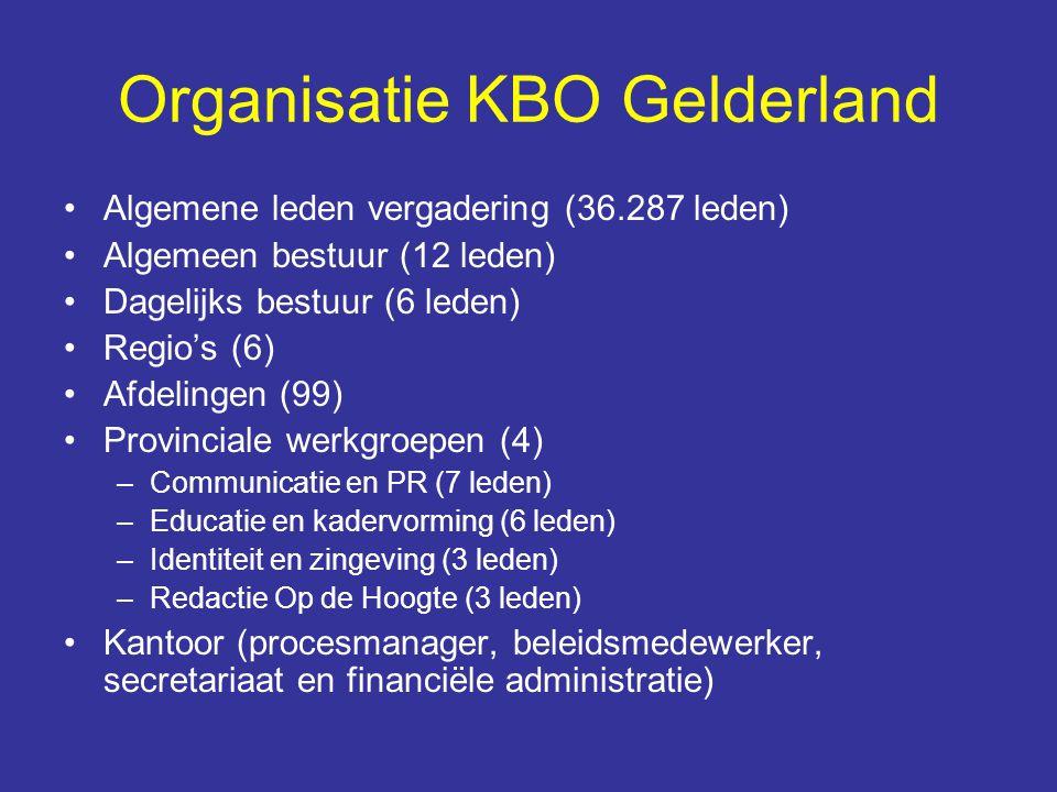 Organisatie KBO Gelderland Algemene leden vergadering (36.287 leden) Algemeen bestuur (12 leden) Dagelijks bestuur (6 leden) Regio's (6) Afdelingen (9