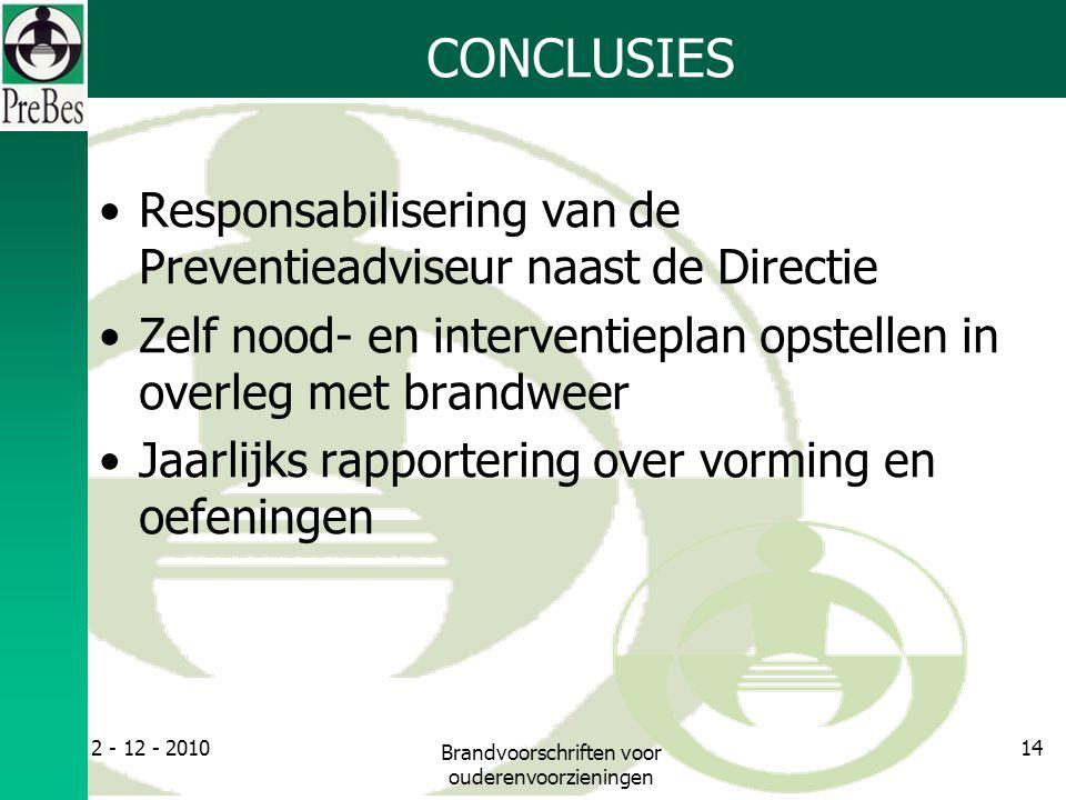 CONCLUSIES Responsabilisering van de Preventieadviseur naast de Directie Zelf nood- en interventieplan opstellen in overleg met brandweer Jaarlijks rapportering over vorming en oefeningen 2 - 12 - 2010 Brandvoorschriften voor ouderenvoorzieningen 14