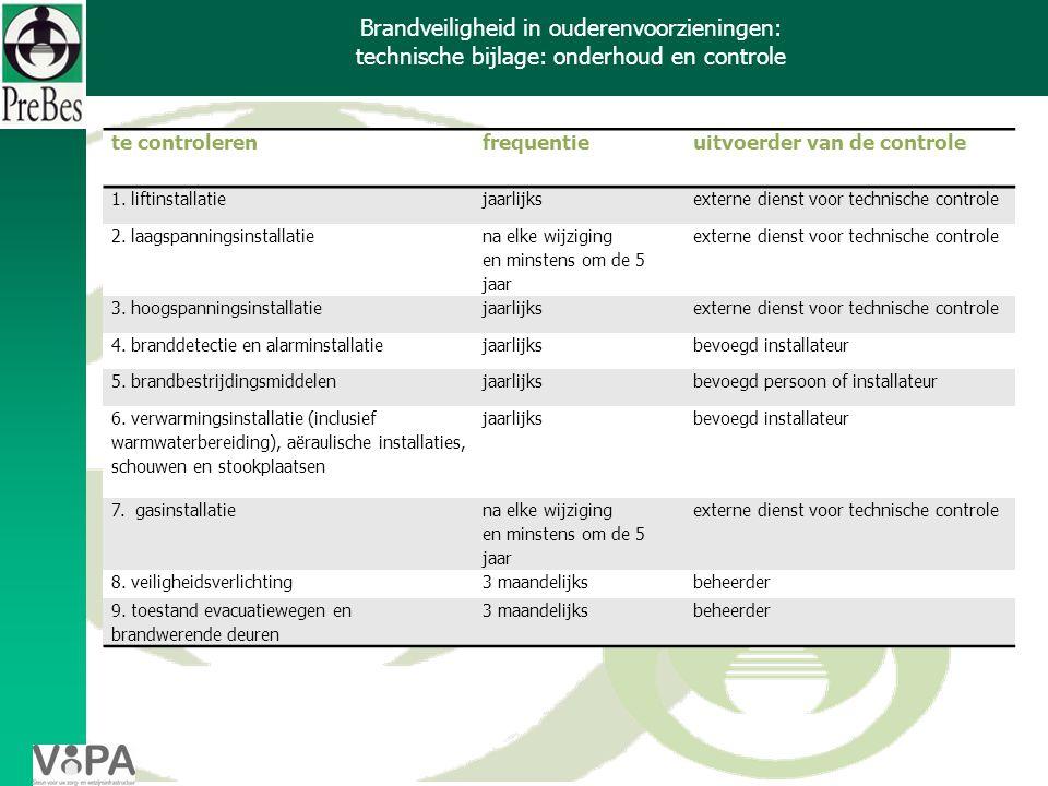 Brandveiligheid in ouderenvoorzieningen: technische bijlage: onderhoud en controle 3.2.2 te controlerenfrequentieuitvoerder van de controle 1.