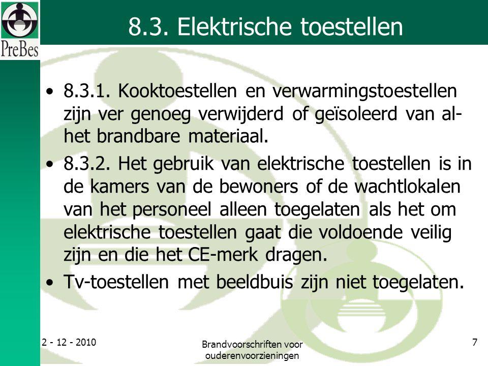 8.3. Elektrische toestellen 8.3.1.