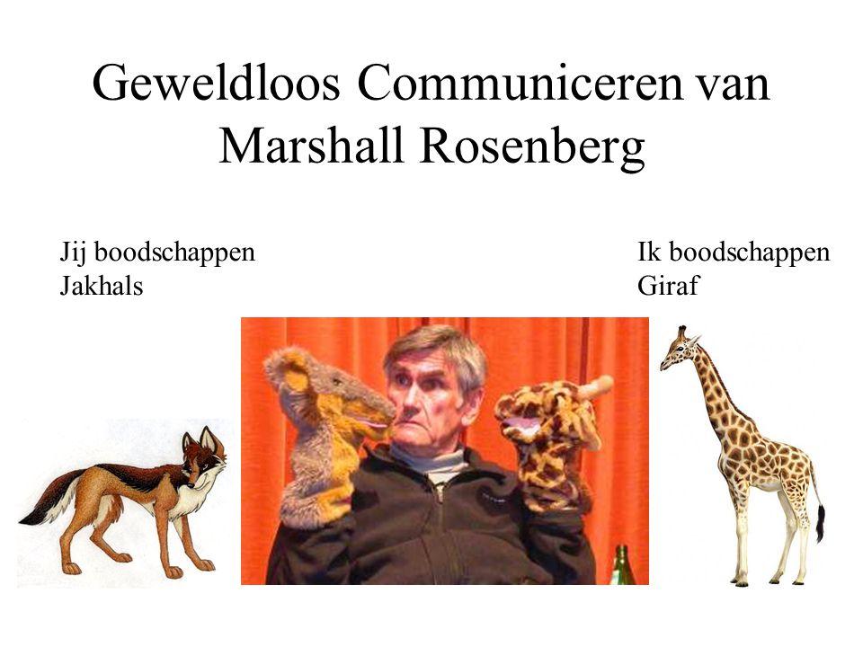 Geweldloos Communiceren van Marshall Rosenberg Jij boodschappen Jakhals Ik boodschappen Giraf