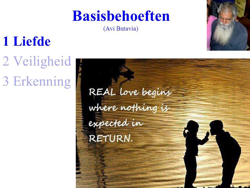 Basisbehoeften (Avi Butavia) 1 Liefde 2 Veiligheid 3 Erkenning