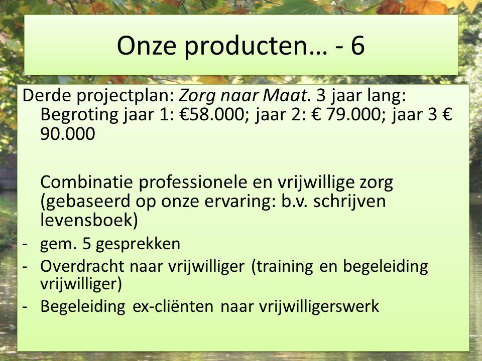Onze producten… - 6 Derde projectplan: Zorg naar Maat. 3 jaar lang: Begroting jaar 1: €58.000; jaar 2: € 79.000; jaar 3 € 90.000 Combinatie profession