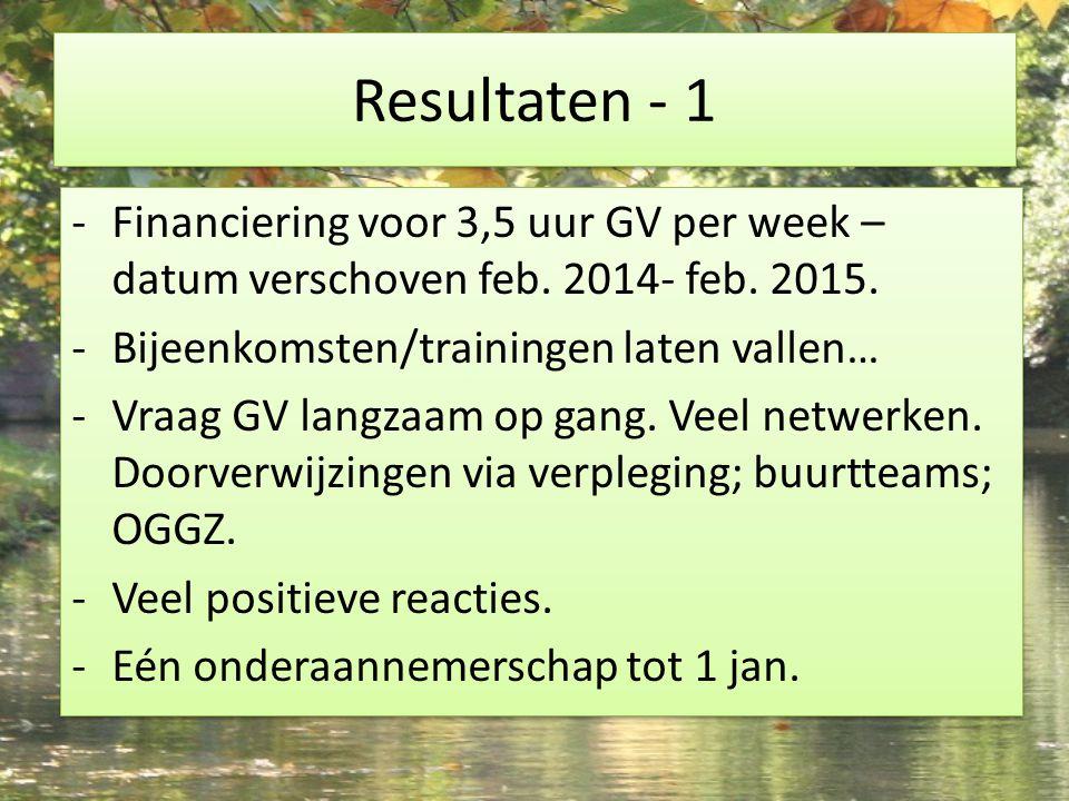 Resultaten - 1 - Financiering voor 3,5 uur GV per week – datum verschoven feb. 2014- feb. 2015. -Bijeenkomsten/trainingen laten vallen… -Vraag GV lang