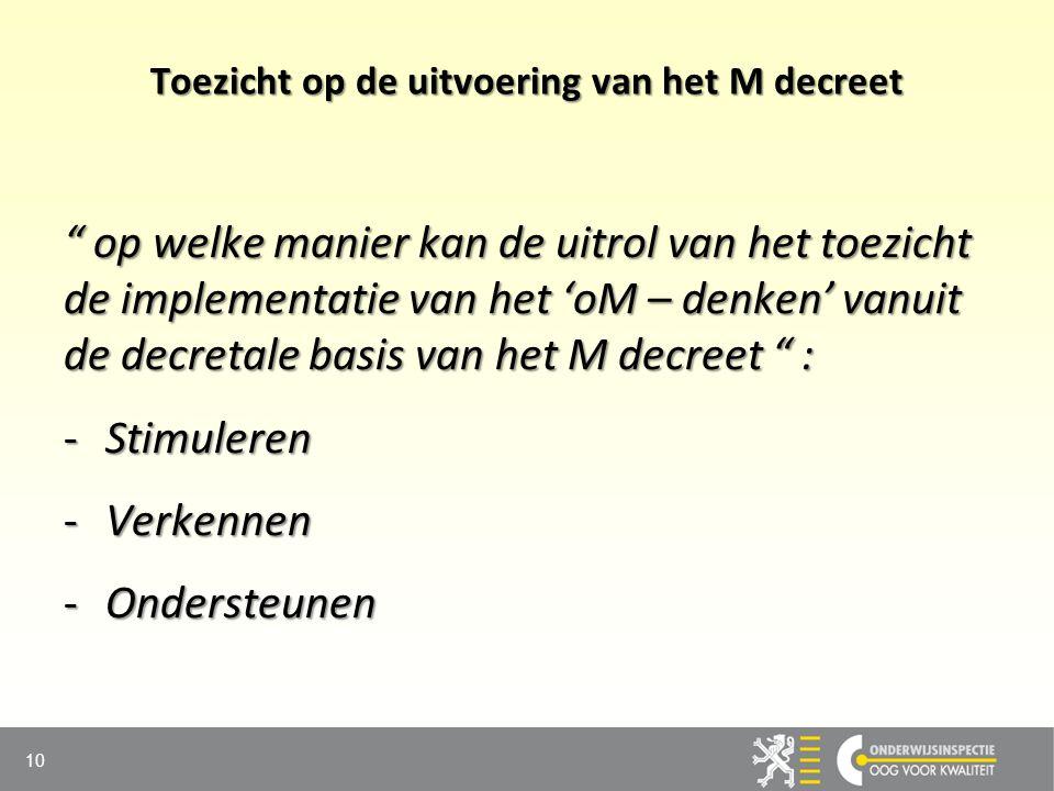 """Toezicht op de uitvoering van het M decreet """" op welke manier kan de uitrol van het toezicht de implementatie van het 'oM – denken' vanuit de decretal"""
