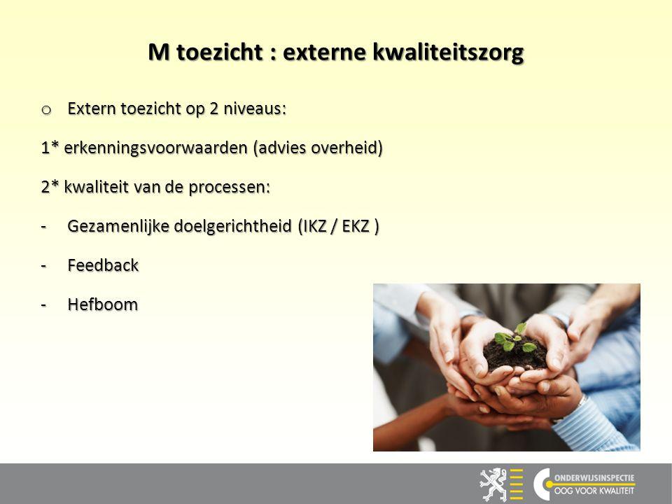 M toezicht : externe kwaliteitszorg o Extern toezicht op 2 niveaus: 1* erkenningsvoorwaarden (advies overheid) 2* kwaliteit van de processen: -Gezamen