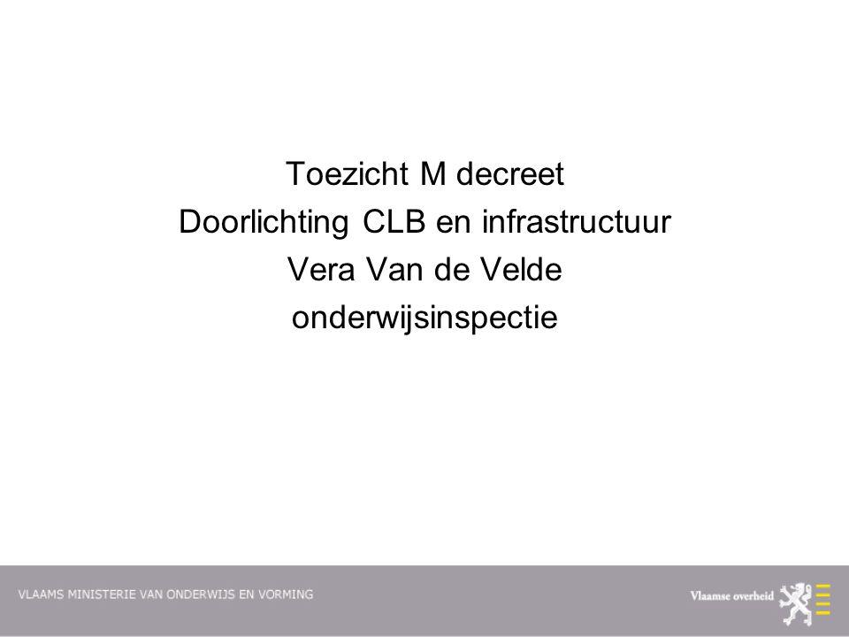 Toezicht M decreet Doorlichting CLB en infrastructuur Vera Van de Velde onderwijsinspectie