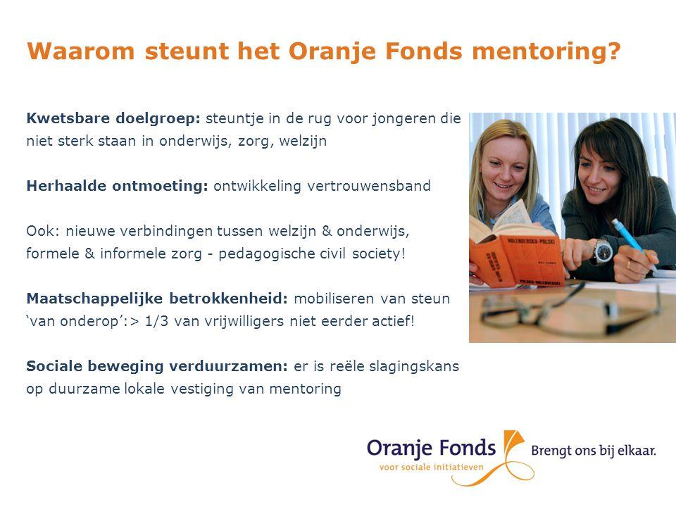 Waarom steunt het Oranje Fonds mentoring? Kwetsbare doelgroep: steuntje in de rug voor jongeren die niet sterk staan in onderwijs, zorg, welzijn Herha