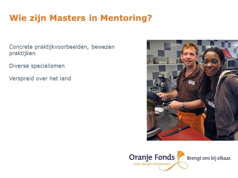 Wie zijn Masters in Mentoring? Concrete praktijkvoorbeelden, bewezen praktijken Diverse specialismen Verspreid over het land