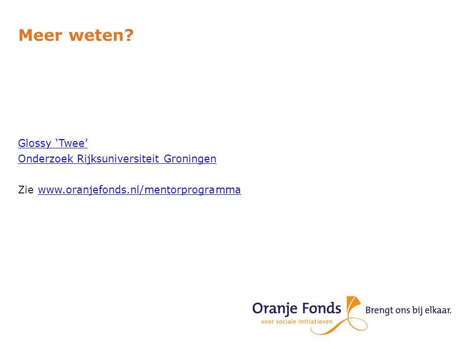 Meer weten? Glossy 'Twee' Onderzoek Rijksuniversiteit Groningen Zie www.oranjefonds.nl/mentorprogrammawww.oranjefonds.nl/mentorprogramma