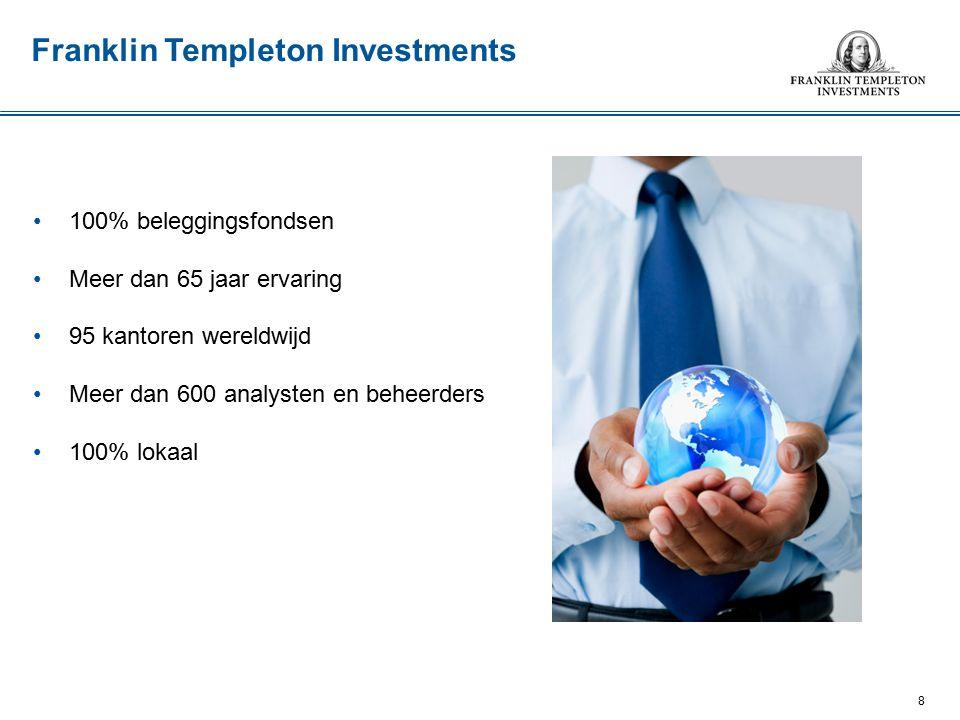 100% beleggingsfondsen Meer dan 65 jaar ervaring 95 kantoren wereldwijd Meer dan 600 analysten en beheerders 100% lokaal 8