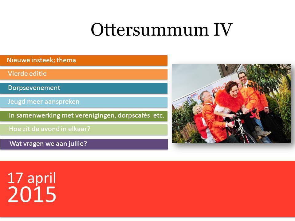 Ottersummum IV Nieuwe insteek; thema Vierde editie Dorpsevenement Jeugd meer aanspreken In samenwerking met verenigingen, dorpscafés etc. Hoe zit de a
