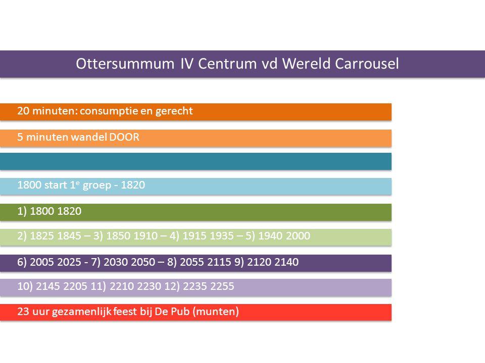 Ottersummum IV Centrum vd Wereld Carrousel 20 minuten: consumptie en gerecht 5 minuten wandel DOOR 1800 start 1 e groep - 1820 1) 1800 1820 2) 1825 18