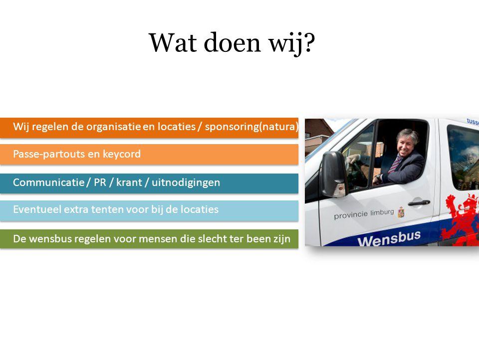 Wat doen wij? Wij regelen de organisatie en locaties / sponsoring(natura) Passe-partouts en keycord Communicatie / PR / krant / uitnodigingen Eventuee