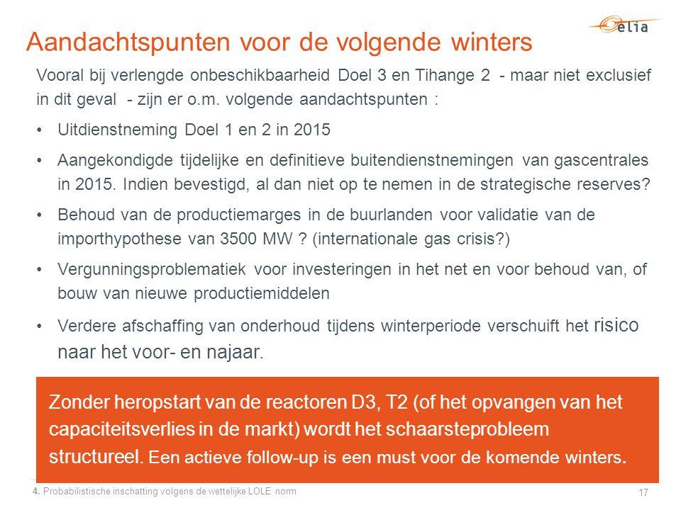 Aandachtspunten voor de volgende winters Vooral bij verlengde onbeschikbaarheid Doel 3 en Tihange 2 - maar niet exclusief in dit geval - zijn er o.m.