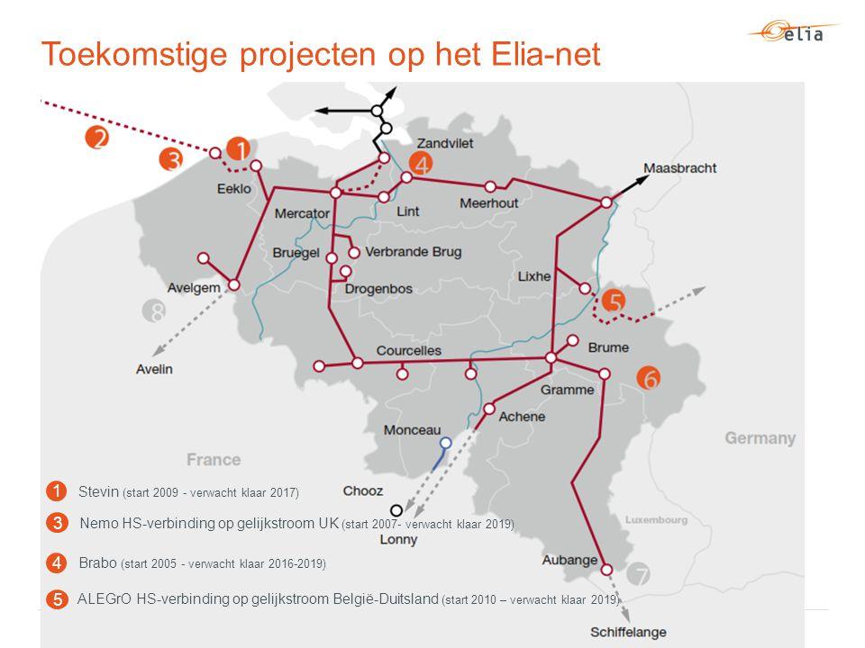 Toekomstige projecten op het Elia-net Brabo (start 2005 - verwacht klaar 2016-2019) 4 Nemo HS-verbinding op gelijkstroom UK (start 2007- verwacht klaar 2019) 3 1 Stevin (start 2009 - verwacht klaar 2017) 5 ALEGrO HS-verbinding op gelijkstroom België-Duitsland (start 2010 – verwacht klaar 2019)