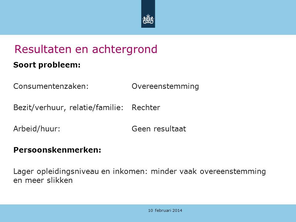 10 februari 2014 Resultaten en achtergrond Soort probleem: Consumentenzaken: Overeenstemming Bezit/verhuur, relatie/familie: Rechter Arbeid/huur:Geen