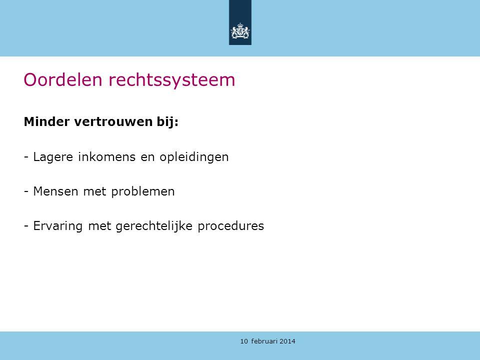 10 februari 2014 Oordelen rechtssysteem Minder vertrouwen bij: - Lagere inkomens en opleidingen - Mensen met problemen - Ervaring met gerechtelijke pr