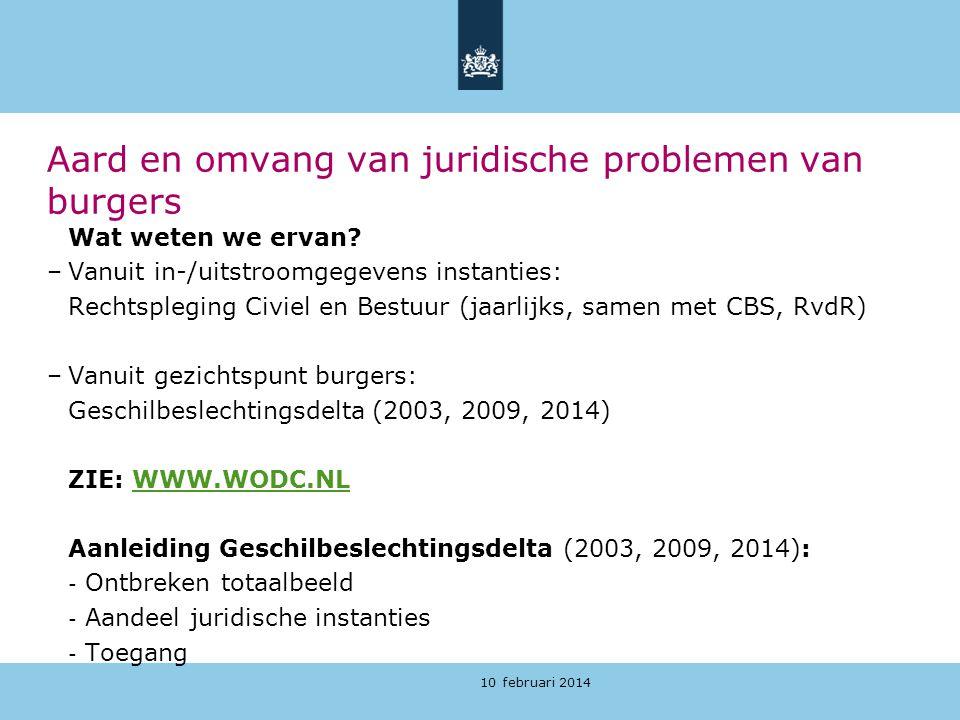 10 februari 2014 Aard en omvang van juridische problemen van burgers Wat weten we ervan? –Vanuit in-/uitstroomgegevens instanties: Rechtspleging Civie