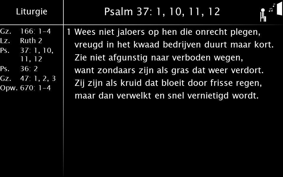 Liturgie Gz.166: 1-4 Lz.Ruth 2 Ps.37: 1, 10, 11, 12 Ps.36: 2 Gz.47: 1, 2, 3 Opw.670: 1-4 Psalm 37: 1, 10, 11, 12 1Wees niet jaloers op hen die onrecht