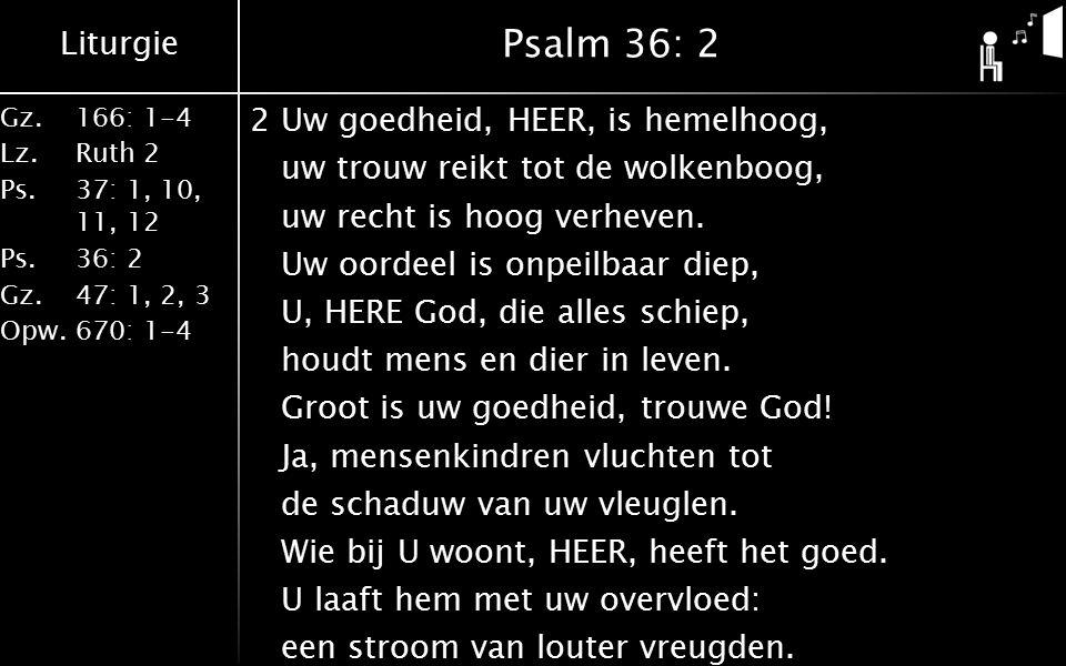 Liturgie Gz.166: 1-4 Lz.Ruth 2 Ps.37: 1, 10, 11, 12 Ps.36: 2 Gz.47: 1, 2, 3 Opw.670: 1-4 Psalm 36: 2 2Uw goedheid, HEER, is hemelhoog, uw trouw reikt