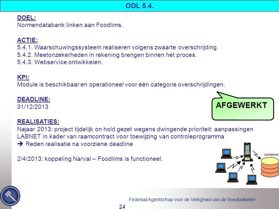 Federaal Agentschap voor de Veiligheid van de Voedselketen 24 DOEL: Normendatabank linken aan Foodlims.