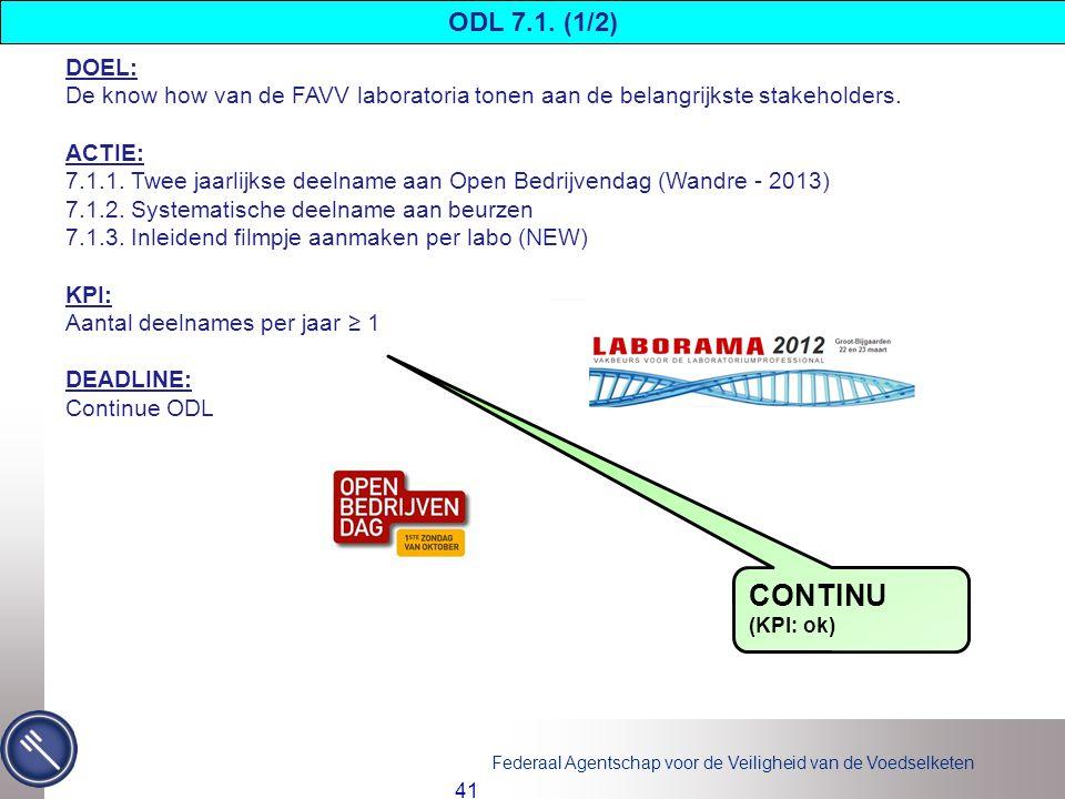 Federaal Agentschap voor de Veiligheid van de Voedselketen 41 DOEL: De know how van de FAVV laboratoria tonen aan de belangrijkste stakeholders.