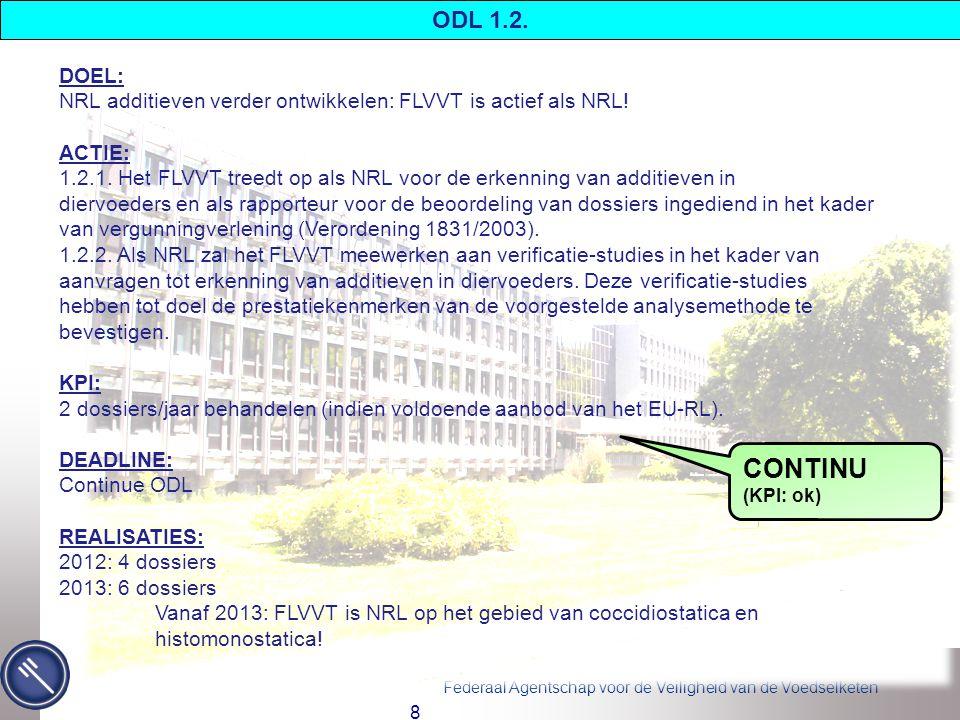 Federaal Agentschap voor de Veiligheid van de Voedselketen 8 ODL 1.2.