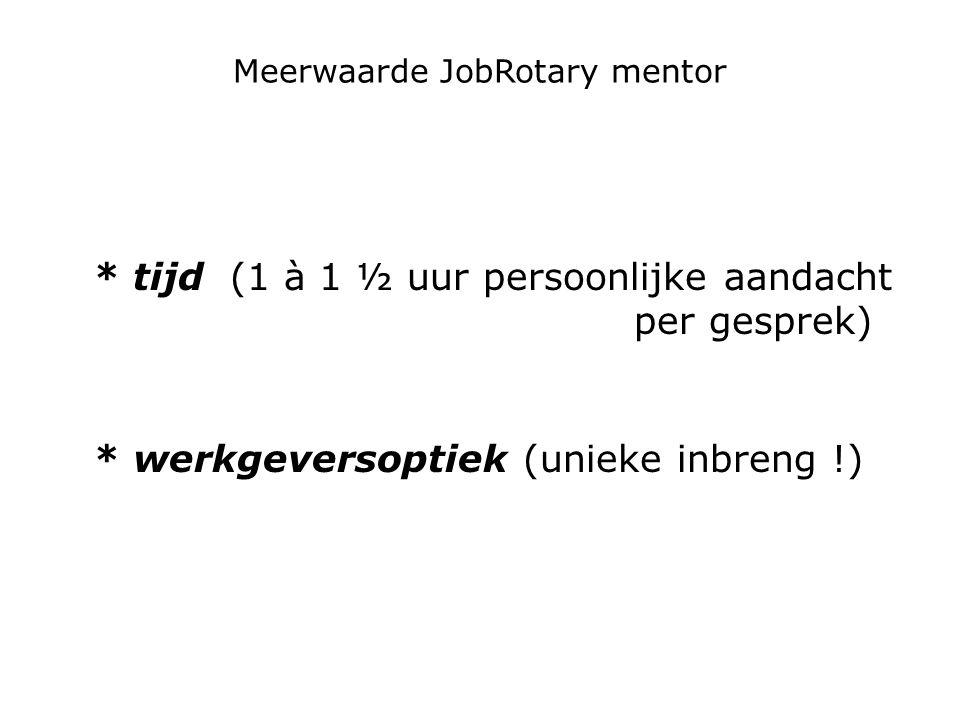 Meerwaarde JobRotary mentor * tijd (1 à 1 ½ uur persoonlijke aandacht per gesprek) * werkgeversoptiek (unieke inbreng !)