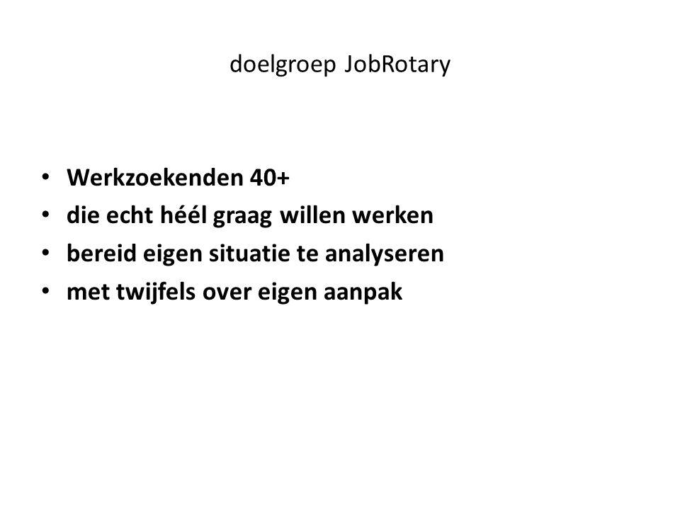 doelgroep JobRotary Werkzoekenden 40+ die echt héél graag willen werken bereid eigen situatie te analyseren met twijfels over eigen aanpak