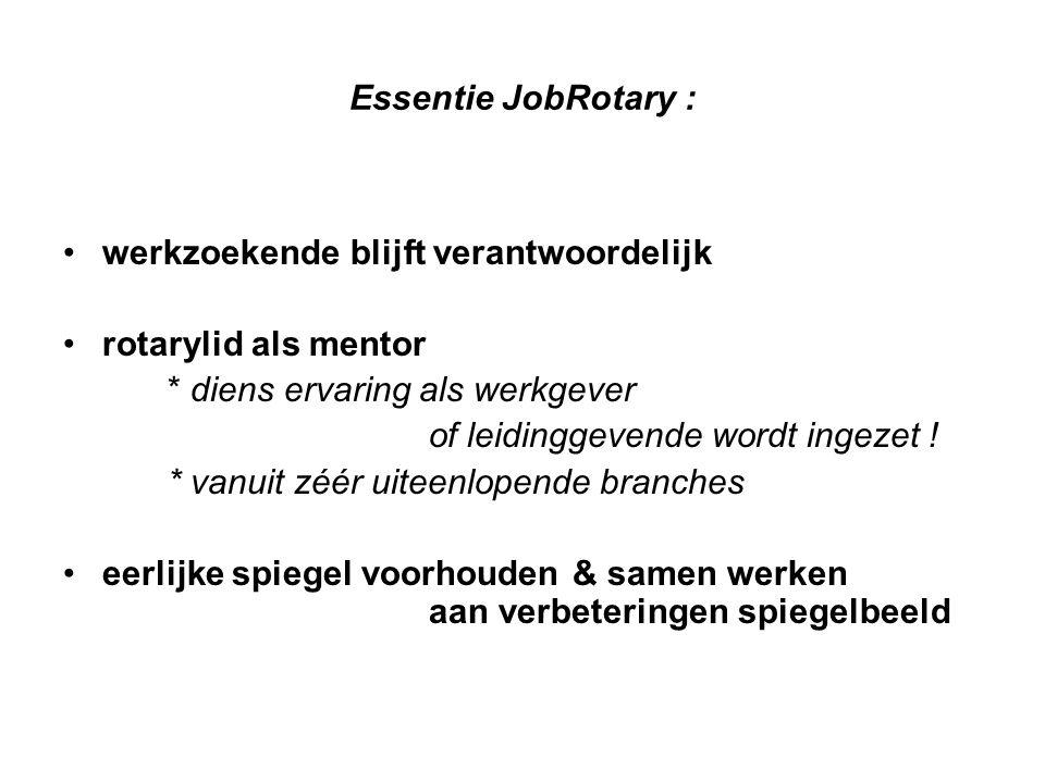 Essentie JobRotary : werkzoekende blijft verantwoordelijk rotarylid als mentor * diens ervaring als werkgever of leidinggevende wordt ingezet .