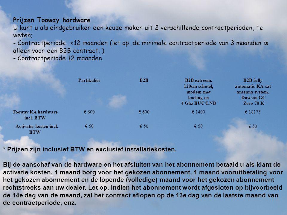 Prijzen Tooway hardware U kunt u als eindgebruiker een keuze maken uit 2 verschillende contractperioden, te weten; - Contractperiode <12 maanden (let