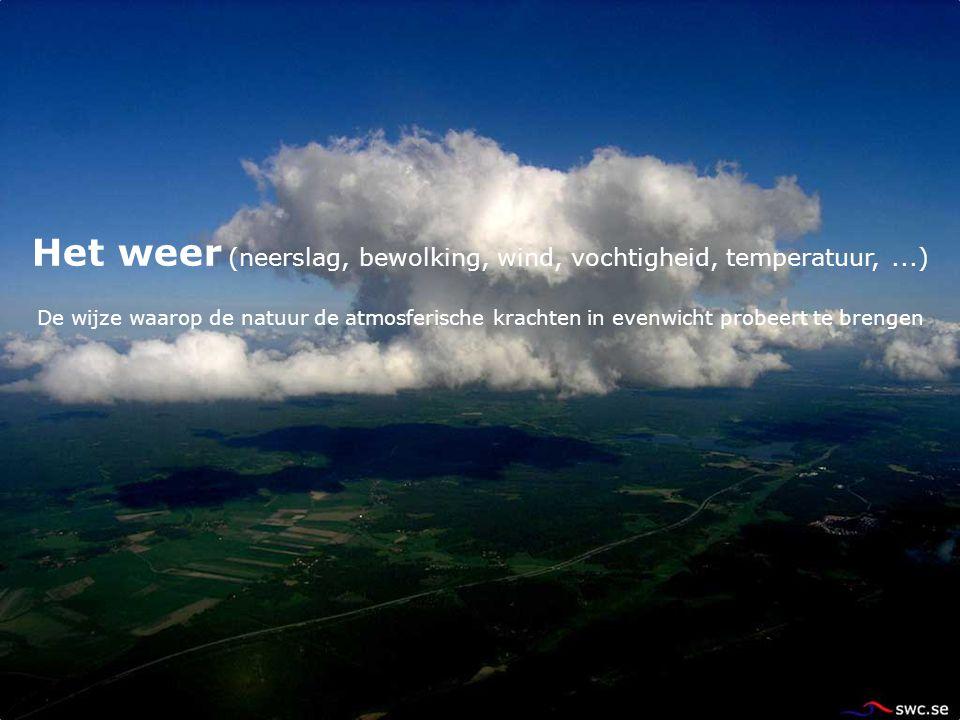 Het weer (neerslag, bewolking, wind, vochtigheid, temperatuur,...) De wijze waarop de natuur de atmosferische krachten in evenwicht probeert te brenge