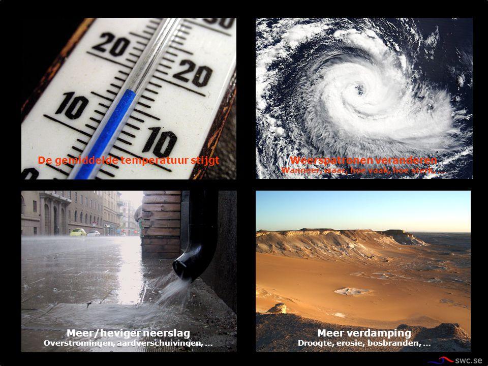 Weerspatronen veranderen Wanneer, waar, hoe vaak, hoe sterk, … De gemiddelde temperatuur stijgt Meer/heviger neerslag Overstromingen, aardverschuiving