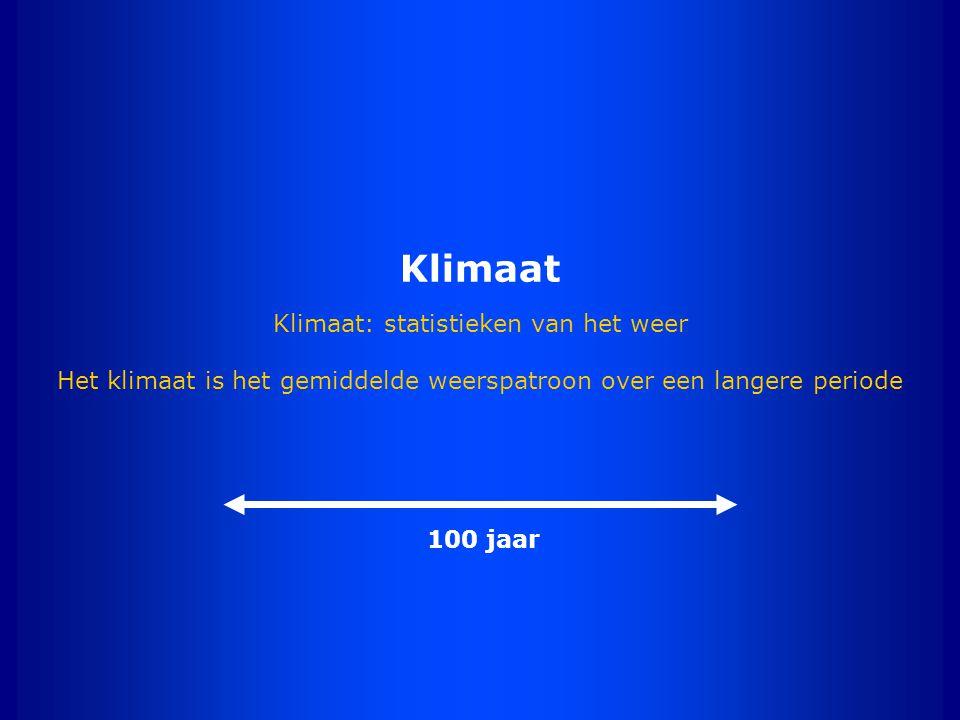 Klimaat Klimaat: statistieken van het weer Het klimaat is het gemiddelde weerspatroon over een langere periode 100 jaar