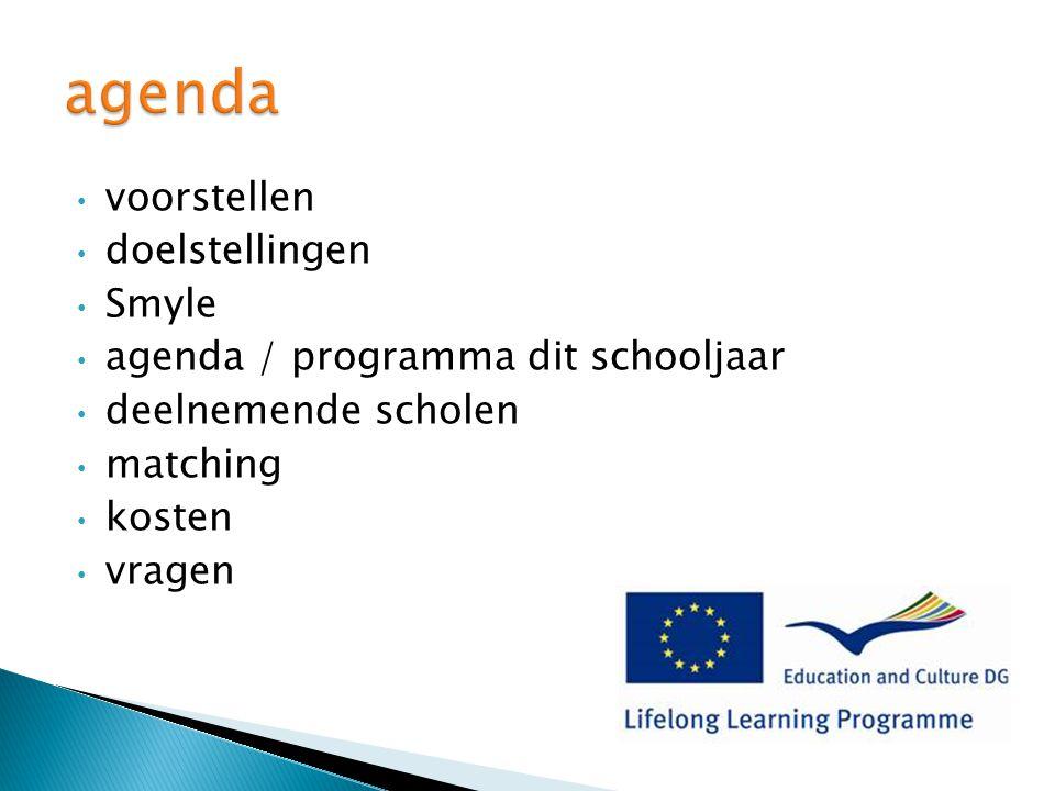 voorstellen doelstellingen Smyle agenda / programma dit schooljaar deelnemende scholen matching kosten vragen