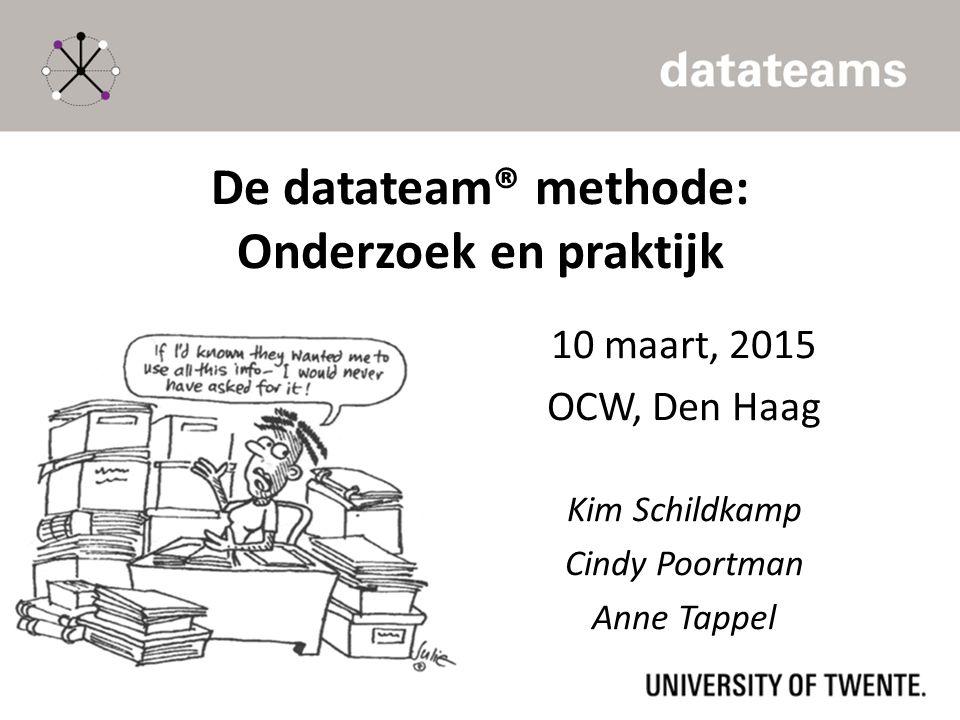 De datateam® methode: Onderzoek en praktijk 10 maart, 2015 OCW, Den Haag Kim Schildkamp Cindy Poortman Anne Tappel