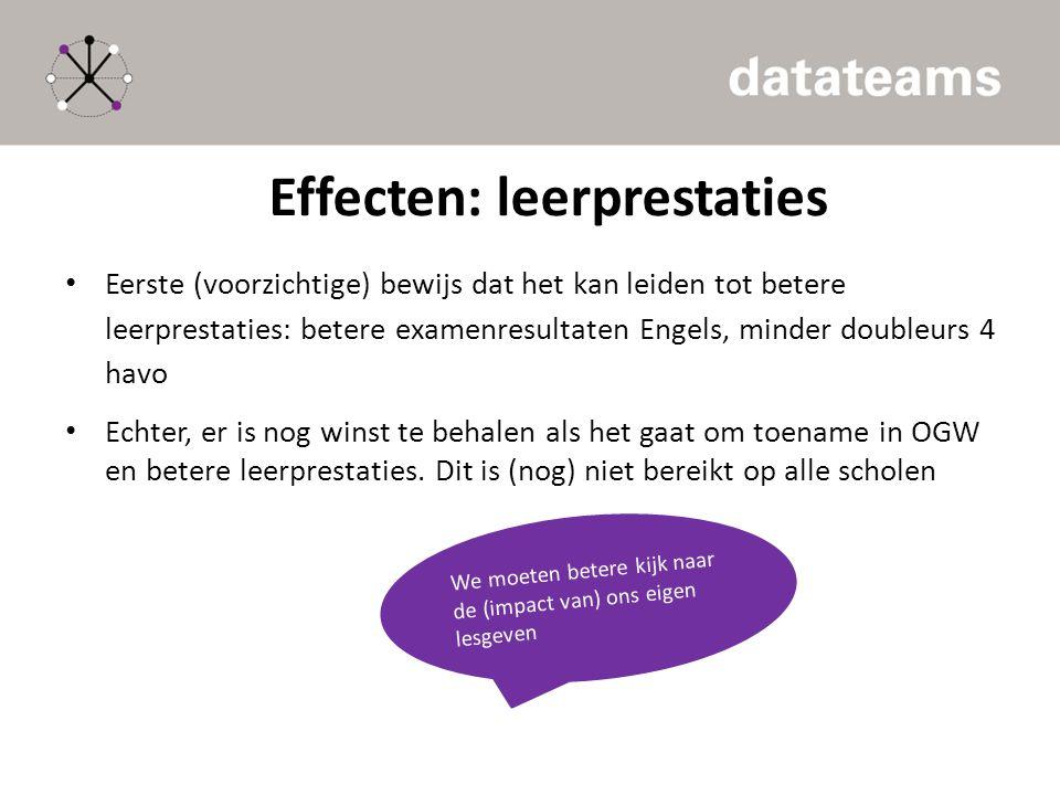Effecten: leerprestaties Eerste (voorzichtige) bewijs dat het kan leiden tot betere leerprestaties: betere examenresultaten Engels, minder doubleurs 4 havo Echter, er is nog winst te behalen als het gaat om toename in OGW en betere leerprestaties.
