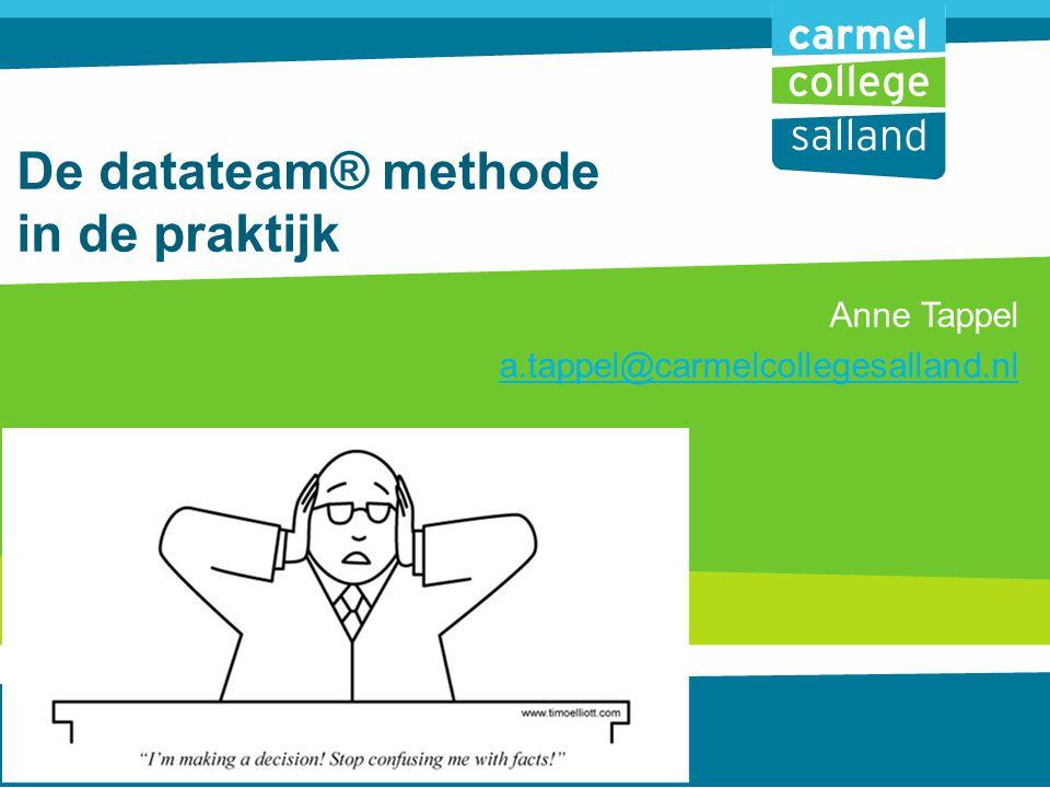 De datateam® methode in de praktijk Anne Tappel a.tappel@carmelcollegesalland.nl