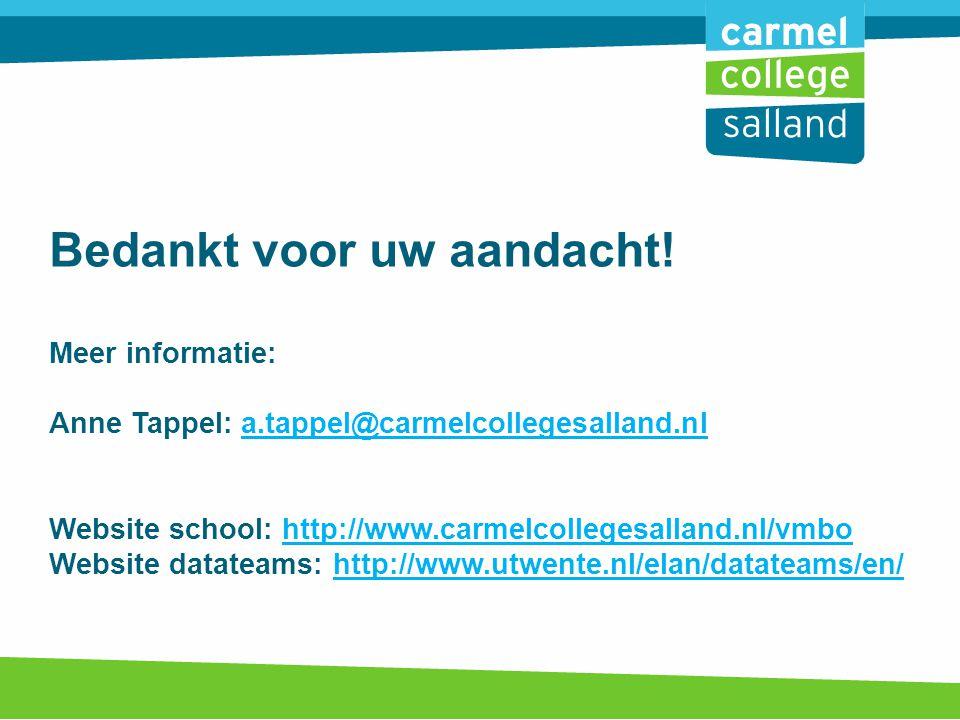 Bedankt voor uw aandacht! Meer informatie: Anne Tappel: a.tappel@carmelcollegesalland.nl Website school: http://www.carmelcollegesalland.nl/vmbo Websi