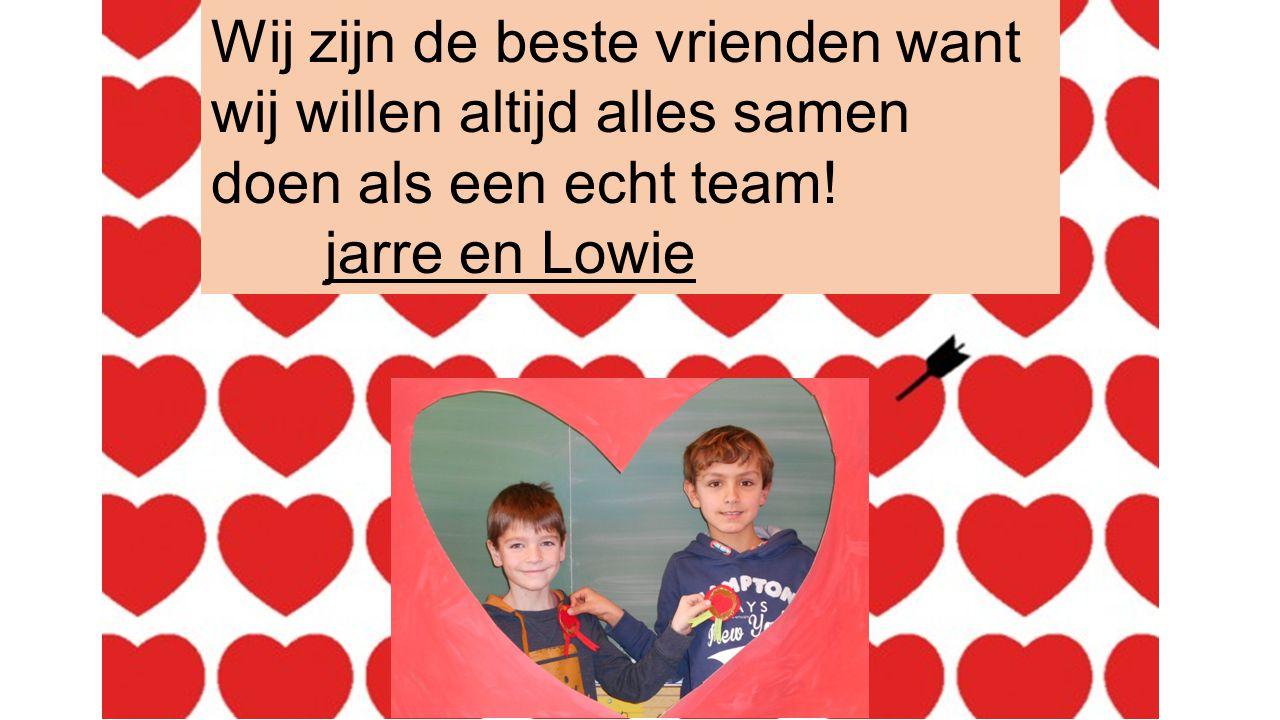 Wij zijn de beste vrienden want wij willen altijd alles samen doen als een echt team! jarre en Lowie
