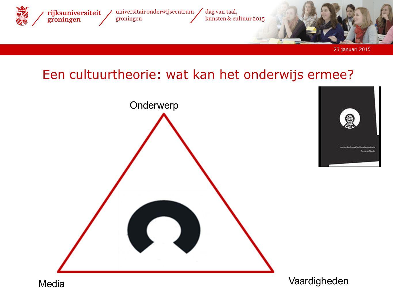 23 januari 2015 universitair onderwijscentrum groningen dag van taal, kunsten & cultuur 2015 Een cultuurtheorie: wat kan het onderwijs ermee.