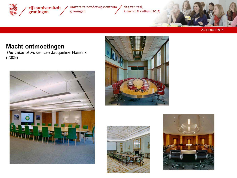 23 januari 2015 universitair onderwijscentrum groningen dag van taal, kunsten & cultuur 2015 Macht ontmoetingen The Table of Power van Jacqueline Hassink (2009)