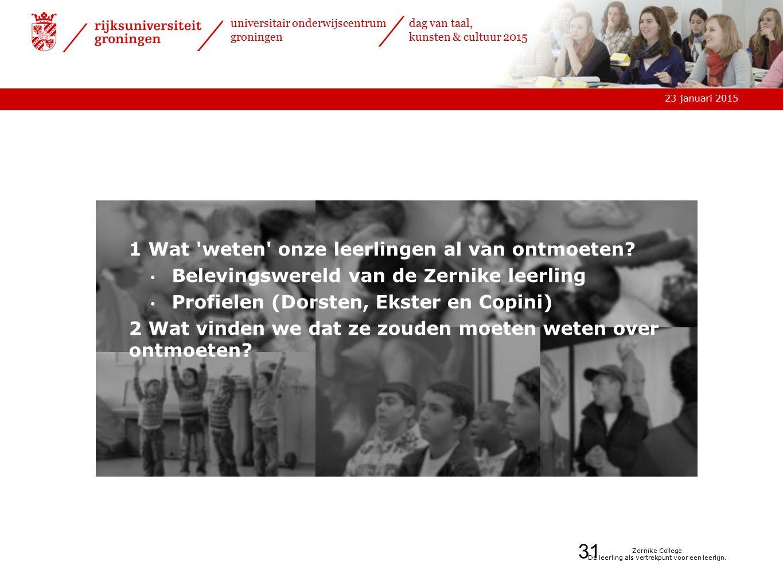 23 januari 2015 universitair onderwijscentrum groningen dag van taal, kunsten & cultuur 2015 Zernike College De leerling als vertrekpunt voor een leerlijn.