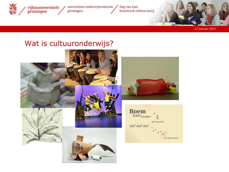 23 januari 2015 universitair onderwijscentrum groningen dag van taal, kunsten & cultuur 2015 Zernike College - Ontmoeten 19 Hoe kun je een themalijn ontwikkelen van 12-18 jaar met de vakken beeldend, literatuur, filosofie, muziek en drama over........