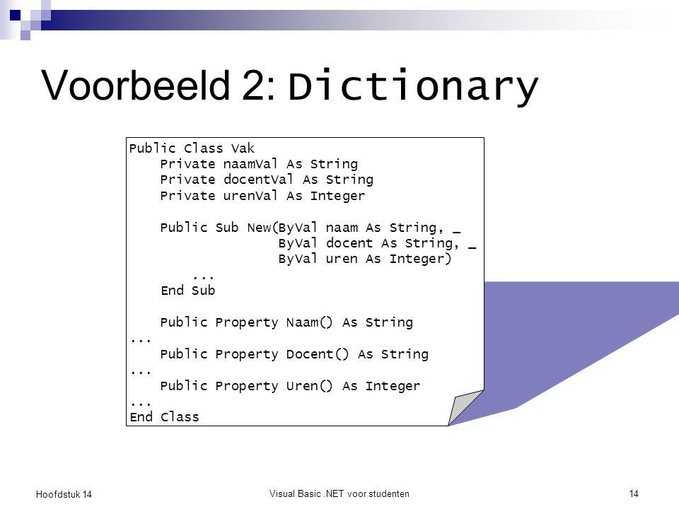 Hoofdstuk 14 Visual Basic.NET voor studenten14 Voorbeeld 2: Dictionary Public Class Vak Private naamVal As String Private docentVal As String Private urenVal As Integer Public Sub New(ByVal naam As String, _ ByVal docent As String, _ ByVal uren As Integer)...