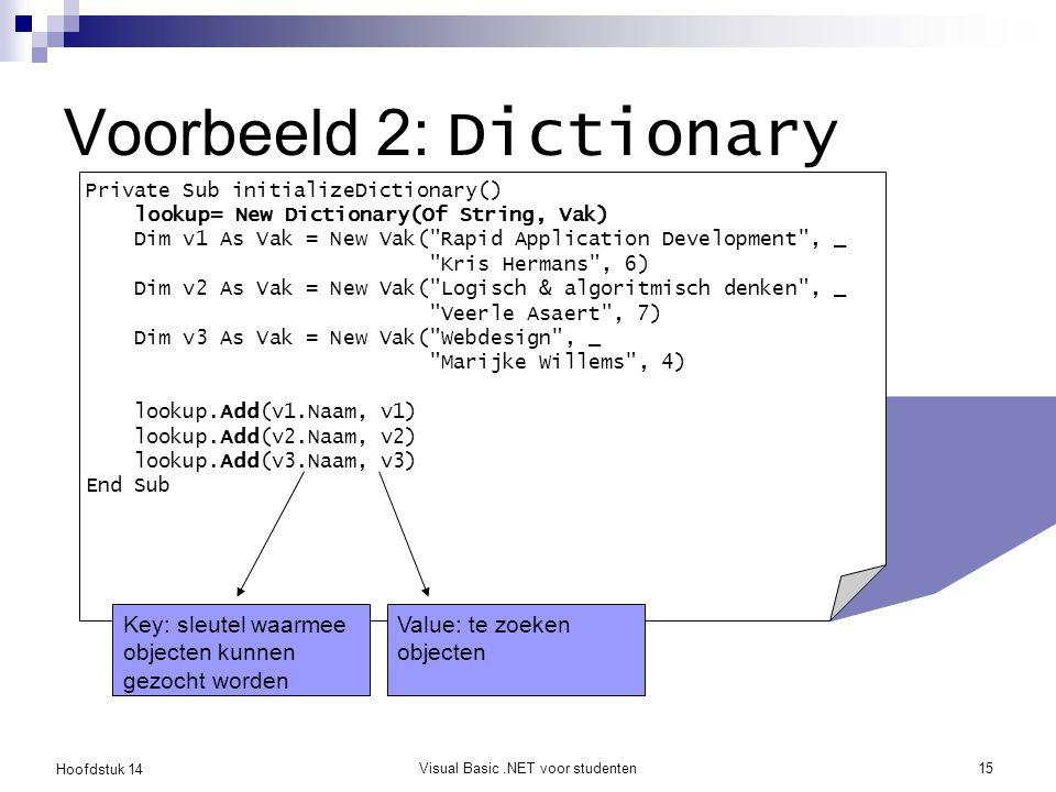 Hoofdstuk 14 Visual Basic.NET voor studenten15 Voorbeeld 2: Dictionary Private Sub initializeDictionary() lookup= New Dictionary(Of String, Vak) Dim v1 As Vak = New Vak( Rapid Application Development , _ Kris Hermans , 6) Dim v2 As Vak = New Vak( Logisch & algoritmisch denken , _ Veerle Asaert , 7) Dim v3 As Vak = New Vak( Webdesign , _ Marijke Willems , 4) lookup.Add(v1.Naam, v1) lookup.Add(v2.Naam, v2) lookup.Add(v3.Naam, v3) End Sub Key: sleutel waarmee objecten kunnen gezocht worden Value: te zoeken objecten