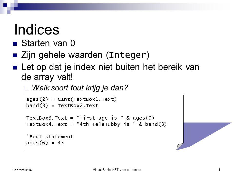 Hoofdstuk 14 Visual Basic.NET voor studenten4 Indices Starten van 0 Zijn gehele waarden ( Integer ) Let op dat je index niet buiten het bereik van de array valt.